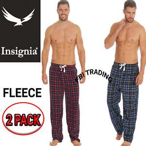 Mens Pyjamas Pants Bottoms CHECK  FLEECE Fabric Lounge Trousers warm 2 PACK