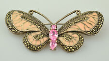 STERLING SILVER MARCASITE PINK ENAMEL BUTTERFLY PIN 2 1/2 INCHES WIDE