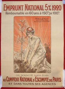 Affiche Ancienne Guerre 14-18 Emprunt Comptoir National Escompte Militaria WWI