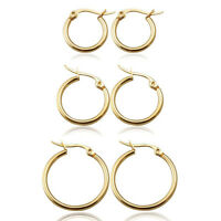 Classic Round Women's Hoop Earrings Surgical Stainless Steel Hypoallergenic Gold
