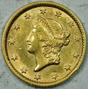 1854 $1 Liberty Head Gold Uncirculated Details UNC MS
