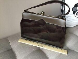 Vintage Brown Metal Frame Patent Leather Purse Handbag ~ Retro
