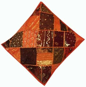 """33% OFF 24"""" ORANGE VINTAGE SARI BEAD SQUIN ACCENT BED THROW CUSHION PILLOW COVER"""