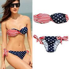 Bandeau Padded Twisted USA American Flag Stars Stripes Bikini Swimsuit Swimwear