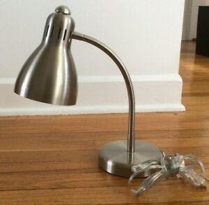 Asia Lighting Brushed Nickel + Chrome Gooseneck Desk Lamp Model TB-143L