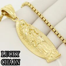 """STAINLESS STEEL GOLD VIRGIN MARY PENDANT 24""""ROUND BOX CHAIN 61g E935"""