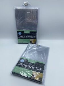 """Clear Vinyl Tablecloth Protector 70"""" X 90"""" Oblong Lot of 2 Packages New"""