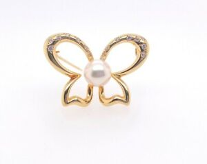 Mikimoto 18K Yellow Gold Diamond & Cultured Pearl Butterfly Brooch/Pin 0.25 Ctw