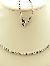 18k Solid White Gold Sparkle Mooncut Beaded Necklace/ Chain 10.35 Grams