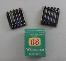 LOT W9  1 BOiTE  DE 10 CARTOUCHES VERRE JIF WATERMAN 88 COURTES  22V BLEU NUIT