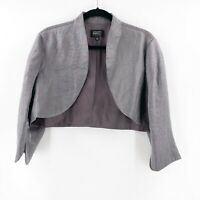 Adrianna Papell Evening Cocktail Jacket Cropped Silver Size 16 Open Front