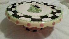 REVERSIBLE CERAMIC PEDESTAL CAKE PLATE STAND  CHIP/DIP PLATE PEAR KITCHEN DESIGN
