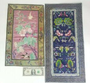 2 Vintage Antique Chinese Silk Embroidery Textile Panels Kesi Republic