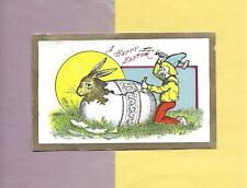 ELF HELPS BUNNY HATCH FROM COLORED EGG Colorful Vintage 1909 EASTER Postcard