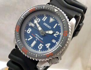 Seiko Ceramic Blue Avenger Tuna Scuba Diver Date Automatic Watch Custom 7002 Mod