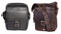 Real Leather Cross Body Bag Mens Small Shoulder Travel Casual Pouch Black Brown