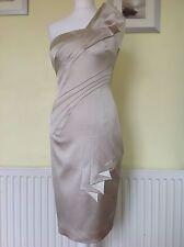 EXQUISITE KAREN MILLEN IVORY SATIN FOLDED DRESS UK 12