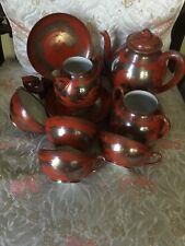 Vintage Dragon Red Rust Sterling Inlay Hand Painted MM Nippon Tea  14 Pc Set