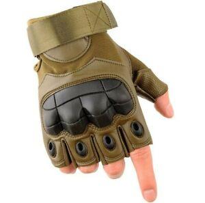 Leather Tactical Fingerless Gloves Rubber Knuckle Driving Half Finger Gloves