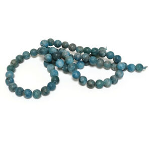 Blue Apatite Beads Plain Round 6mm Frosted Strand Of 60+