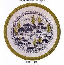 Village Alpin - sweet circular colour cross stitch chart - Jardin Prive