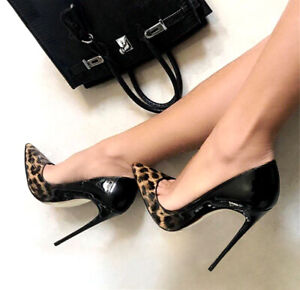 Women Pointy Toe High Heels Patent Leather Pumps Slip on Stiletto Nightclub Shoe