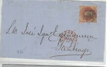 Chile 5c Red on 1859 cover Valparaiso CDS (1beo)