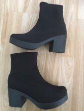 Women Girls Ankle Boot Chunky High Block Heel Platform Shoes Size