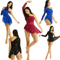 Women Asymmetric Sequin Ballet Dance Leotard Dress Girls Ice Skating Gym Costume