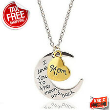 Mothers Day Gift Necklace Heart Pendant Mom I Love You To The Moon and Back New