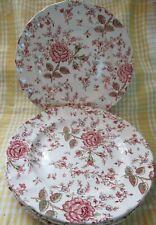 Vintage Original Rose Chintz Johnson Brothers 4 Dinner Plates