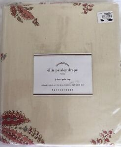"""NEW! Pottery Barn ELLIS PAISLEY Drapery Panel Lined Reds/Pink 50 x 84"""" Linen"""