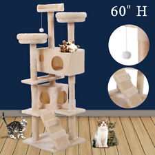 """Cat Tree 60"""" Tower Condo Furniture Scratching Post Pet Kitty Play House Beige"""