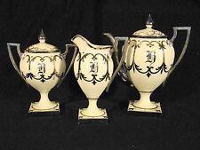Willets American Belleek Porcelain 3 Pieces Silver Luster Tea Coffee Set c.1900