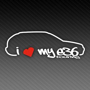 BMW I Love My E36 Touring Sticker 20cm x 8cm Silhouette M3 Tuning EDM