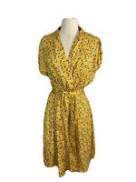 Piper Women's Size 14 Floral Yellow Wrap A Line Dress