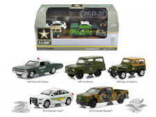 US ARMY BASE 5 CARS MOTOR WORLD DIORAMA SET 1/64 BY GREENLIGHT 58028