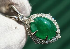 Emerald Gold Pendant Necklace Diamond Natural 8.24CTW GIA Certified RETAIL $9700