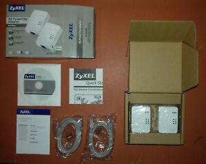 Zyxel PLA4201 500Mbps Mini Powerline Ethernet Adapter Starter Kit UK Twin Pack