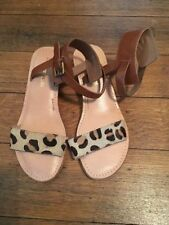 Animal Print 100% Leather Ankle Straps Women's Sandals & Beach Shoes