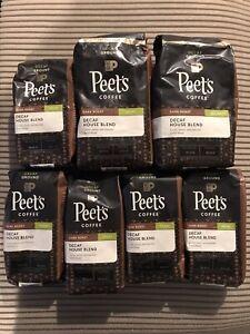 7 Pack Peet's Coffee DECAF House Blend Ground Coffee 2-18oz & 5-10.5 Oz BB 8/21