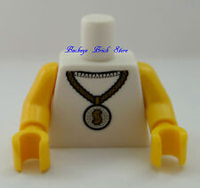 NEW Lego Male Boy WHITE MINIFIG TORSO w/ Dollar Coin Money Symbol Chain Necklace