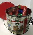 Vintage Lot 23 Colored Smooth Tree Light Bulbs C9 With Christmas Bear Metal Tin