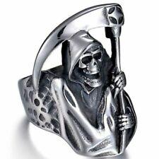 Mens Devil Gothic Dark Fashion Jewelry Grim Reaper Skull Ring Biker Silver Punk