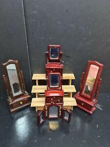dolls house accessories job lot of 4 mahogany mirror items 1.12thY