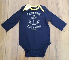 BABY GAP Navy Blue/Yellow NAUTICAL Bodysuit One-Piece SZ 3-6 MOS Anchor NWT