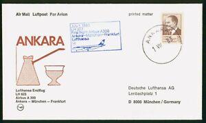 MayfairStamps Turkey 1983 Ankara to München Germany LH 623 Lufthansa Airbus A 30
