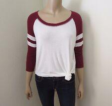 ME To WE Pacsun Lightweight Baseball T-Shirt Size Small Burgundy & White