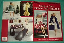 BUY3=FREESHIP  KNIT Book Fashion Doll Clothes Wardrobe College Career 18 designs