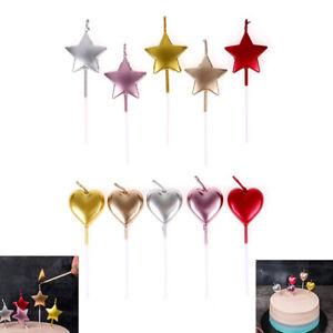 5pcs/set Mental Color Flame Cake Topper Birthday Candle Heart Star Cake De FF